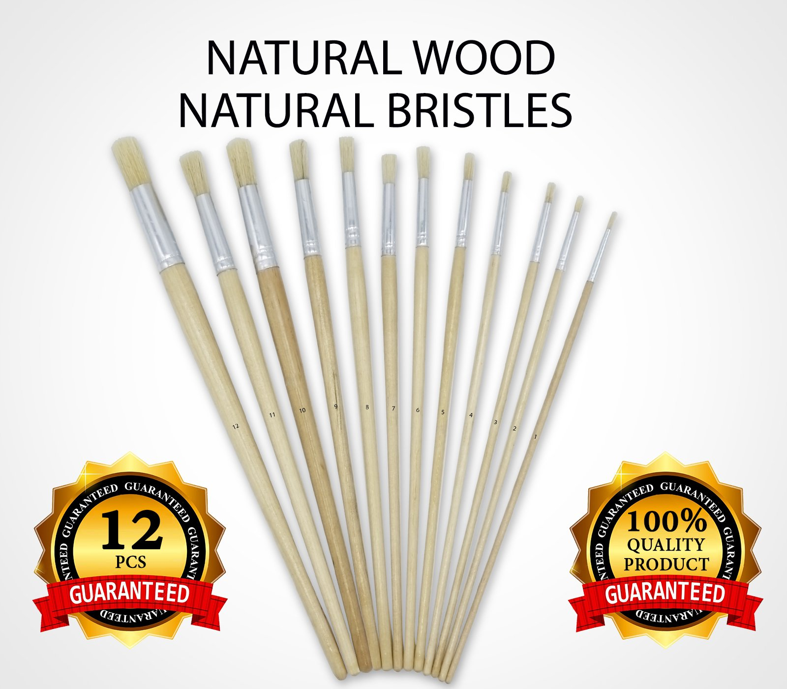Artist Paint Brushes - Paint Brush Set - 12 pcs Round Paint Brush Art for Oil Painting and Acrylic Painting by Crafts, Long Handle, Natural Brush Paint. Great for Student and Artist