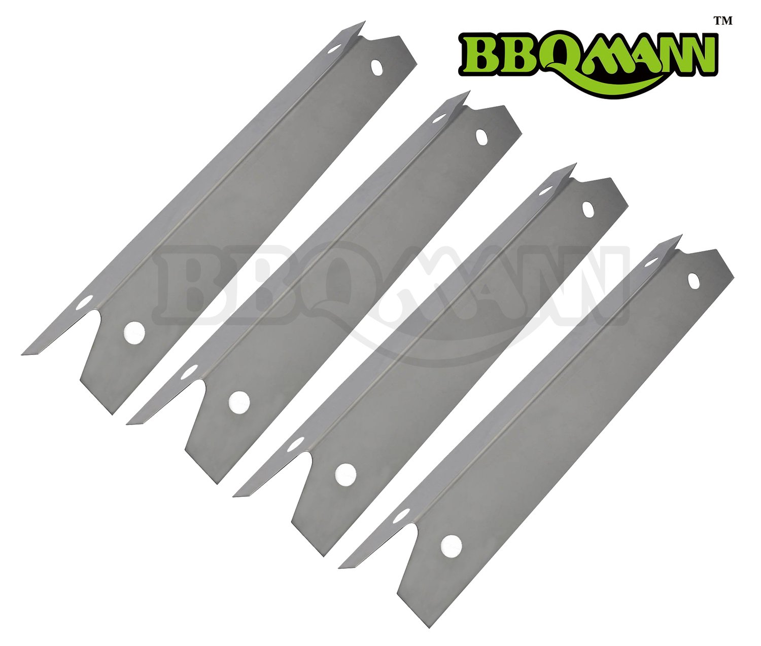 "BBQMANN JH311 (4-pack) BBQ Gas Grill Stainless Steel Heat Plate/shield for Brinkmann, Charmglow Models Grills (16 3/4"" X 3 7/8"")"