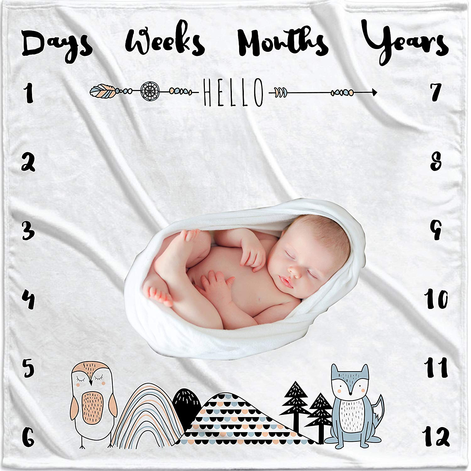 WeeWittaWoo Large Premium Baby Monthly Milestone Blanket-Gift for Baby or pet milestones-Baby Photo Blanket for Infant boy Girl Kitten Puppy-Soft Thick Monthly Photo Blanket in Baby Shower Gift Box