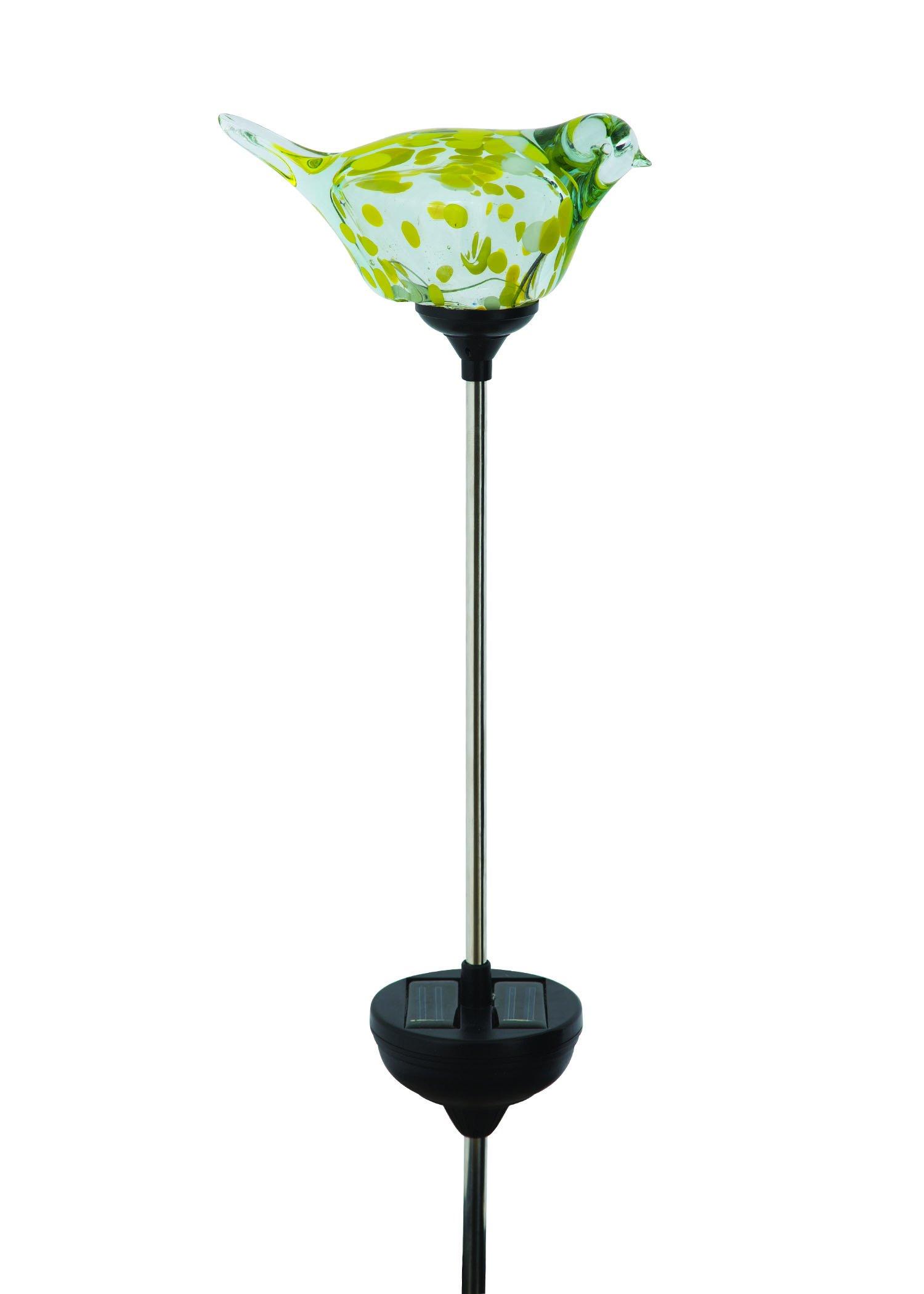 Russco III GS137029 Solar Powered LED Glass Bird Garden Stake, Yellow