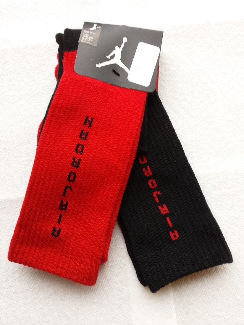 Nike Air Jordan 2 Pairs/Pack Kids High Crew Socks, Youth, Black/Red, 5Y-7Y