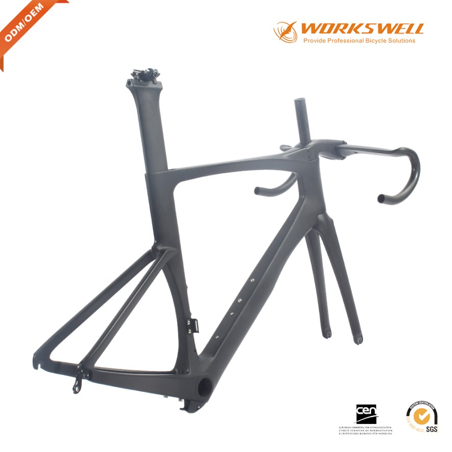 Chinese manufacturer carbon fiber race cycling bike frame with aero handlebar and stem
