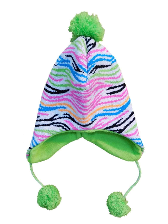 55cbd1f4f9b Get Quotations · Yak Pak Girls Colorful Zebra Print Winter Peruvian Trapper  Hat With Pom-Poms