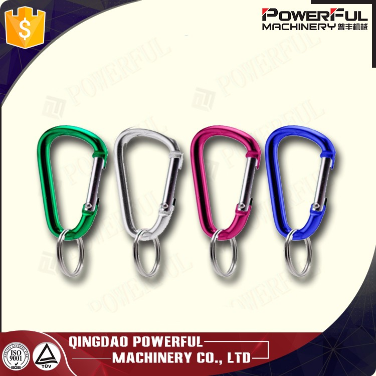 Colorful Small D Shaped Aluminium Carabiner Snap Bag Hook