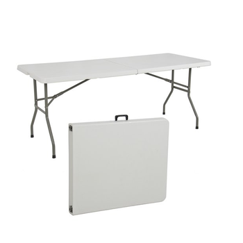 Merveilleux 6u0027 Multipurpose Utility Center Fold Folding Table W/ Carrying Handle    White Granite