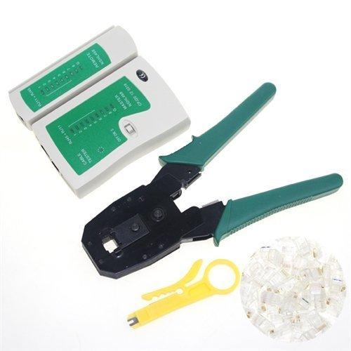 EpicDealz Cable Tester +Crimp Crimper +100 Rj45 Cat5 Cat5e Connector Plug Network Tool Kit by EpicDealz