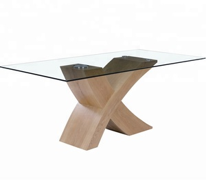 Wholesale furniture China tempered glass MDF X shape dining table bazhou furniture / Tianjin