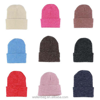c5d9c75d05b Cuff Blank Plain Ski Custom Knit Skull Beanie Wholesale Acrylic Winter Hat  Plain Beanie Hat