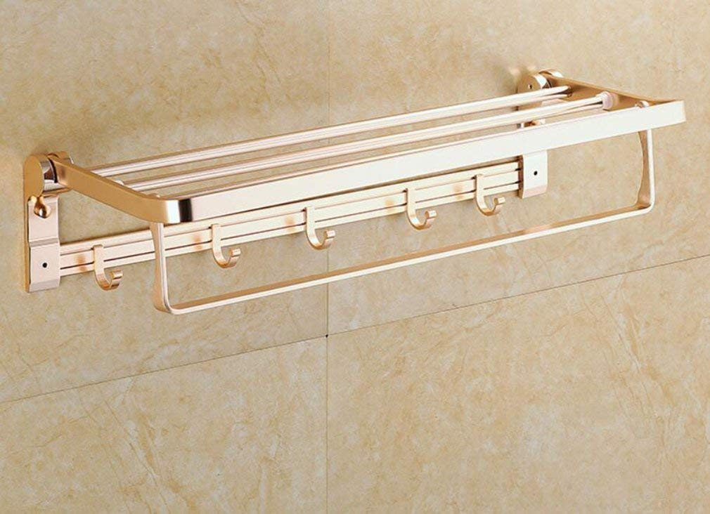 EQEQ Bath Rooms, Accessories, Sucastle Space of Gold Aluminum Folding Towel Rail Activity of Hooks Single Layer Towel Rack Towel Rack