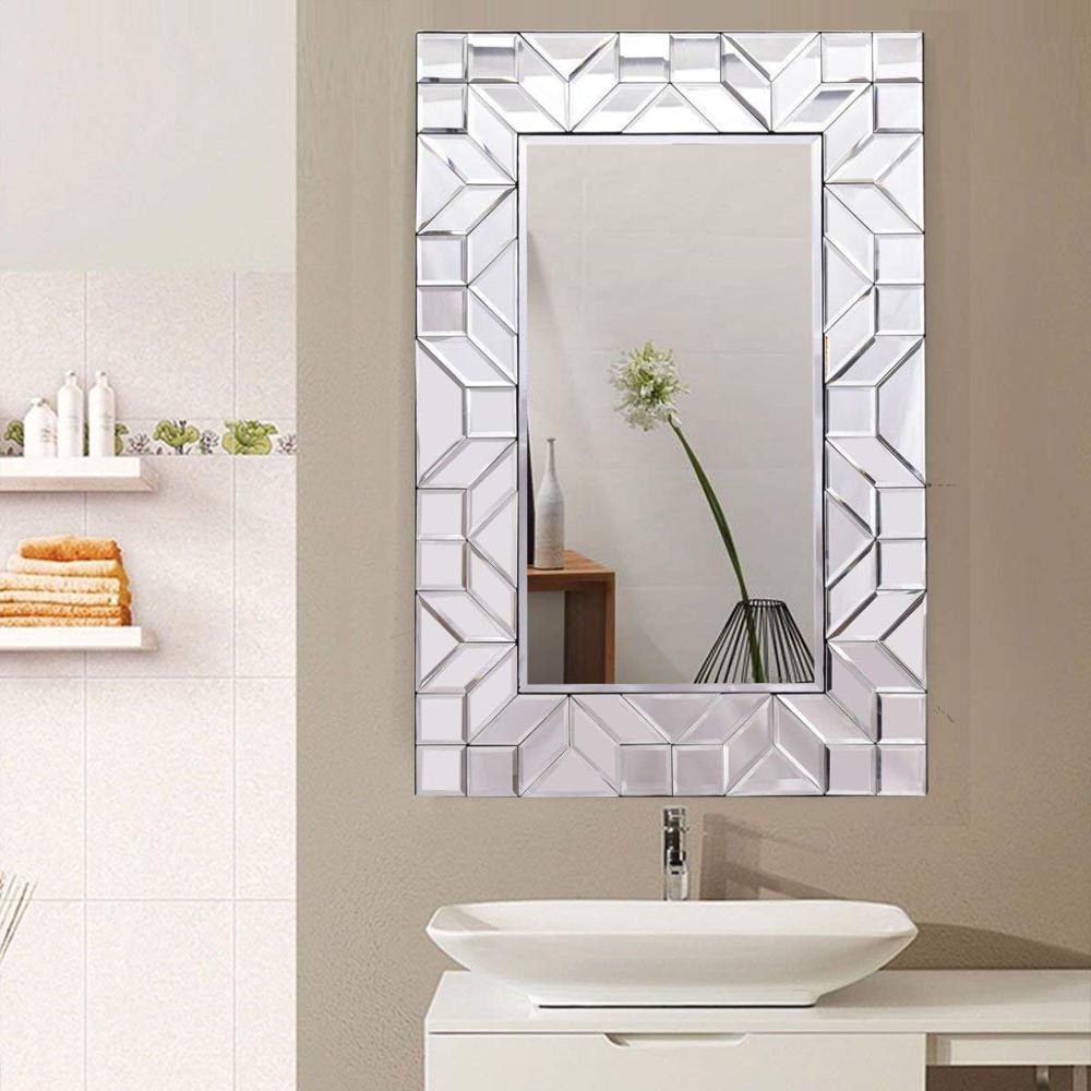 Tangkula Beveled Glass Rectangle Wood Frame Bathroom Home Decor Wall Mirror  , Buy Tangkula Glam Rectuangular Design Wall Mirror,Contemporary Rectangle
