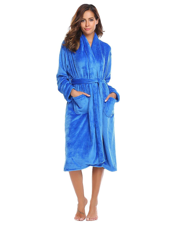 Get Quotations · Goldenfox Womens Plush Fleece Soft Warm Solid Robe Bathrobe  with Belt Sleepwear S-XXL f1da3e32b