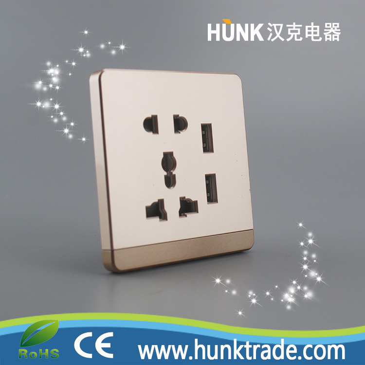 Hot selling double usb power socket for multi plug wall socket