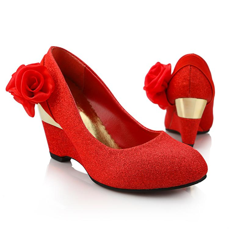 free shipping Wedding shoes wedding shoes gold red wedding shoes the bride wedding shoes sw7340 50