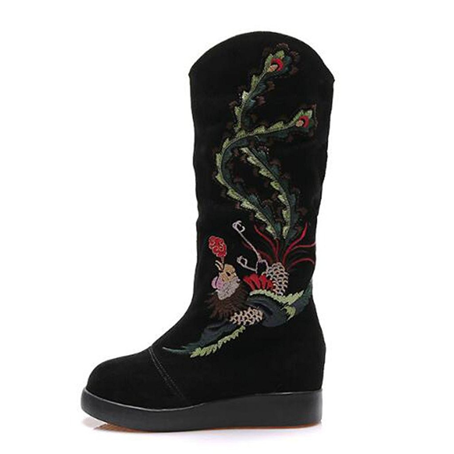 Ladies Autumn And Winter embroidered Female boots fashion Boots Keep warm snow boots Gaotong cotton shoes