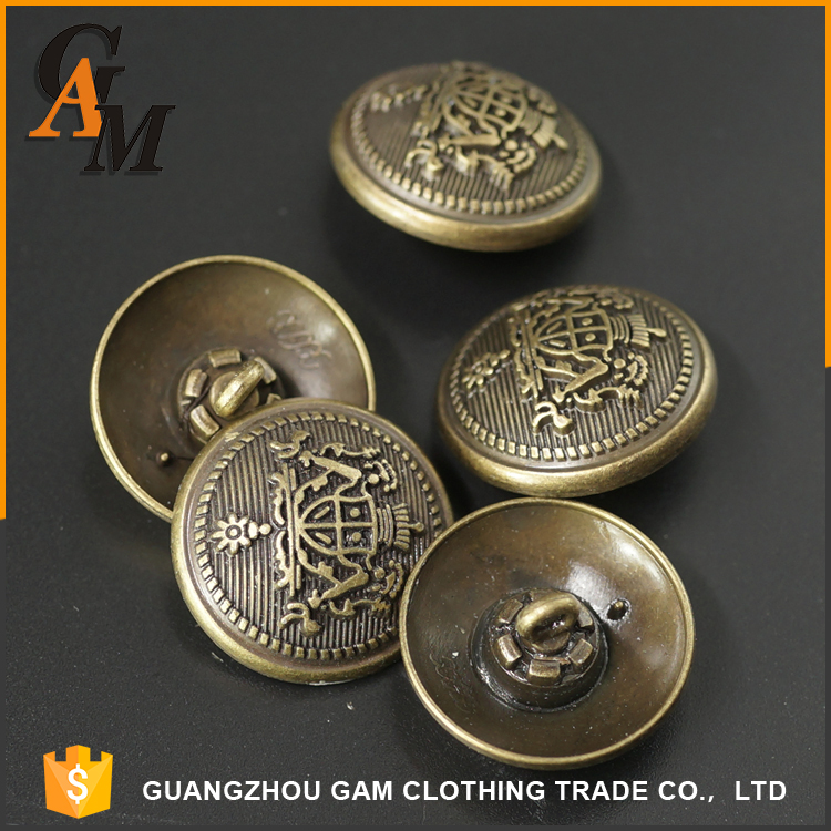 Garment noble clothing accessories metal custom military uniform sewing different types of buttons