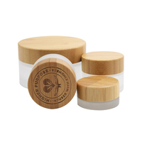small size bamboo face cream jar 30g frosted bamboo glass jar with bamboo lid