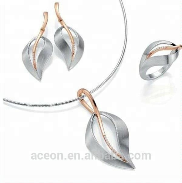 Yiwu Aceon Stainless Steel repli 18k gold plated leaf jewelry set