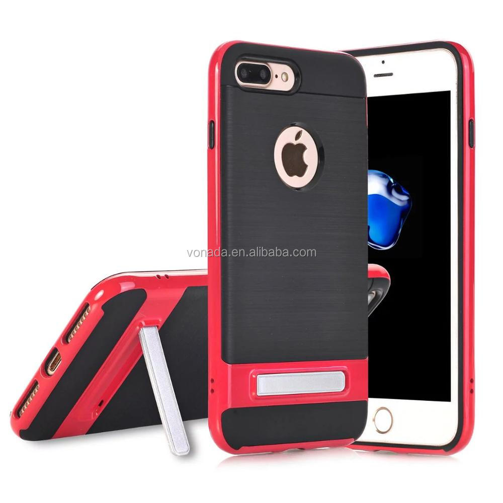 Brushed Back Kickstand Hybrid Armor Case for iPhone 7 / 7 plus