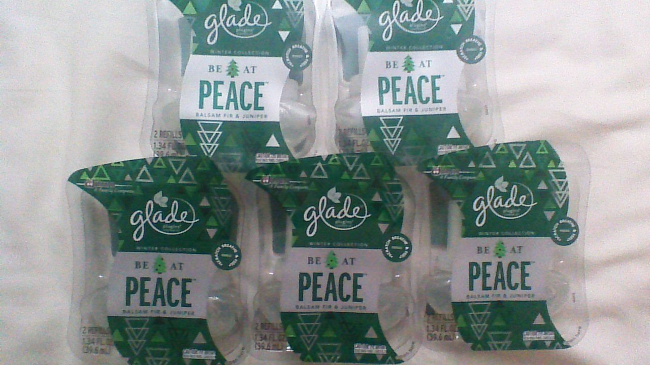 10 Glade BE AT PEACE BALSAM FIR & JUNIPER Refill PlugIns Scented Oil Spruce 5pak