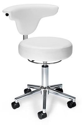 Anti-Bacterial Medical Office Task Chair in White Color Vinyl - Clinic Lab Stool