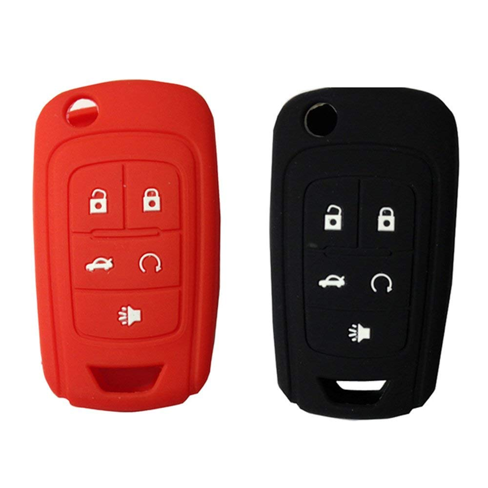 KEMANI Lots 2pcs Silicone Skin Cover For CHEVROLET Camaro Cruze Equinox Volt Flip Key Case Fob 5 Button Shell Replacement(Black+Red)