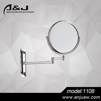 Anju Wall Mounted Brass Bathroom Mirror Movable Decorative Two Side