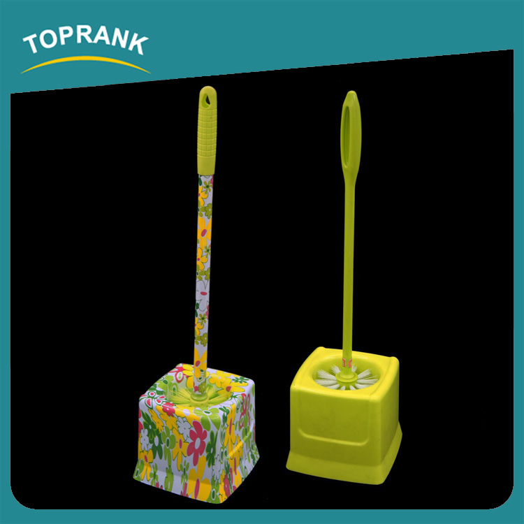 Toprank Widely Use New Style Flower Printed Decorative Toilet Brush Plastic Cleaning Toilet Brush Set With Holder