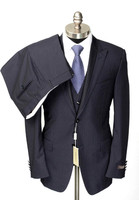 Made to Measure Black Stripe 3 Piece 2 Button Flat Front Wool Suit