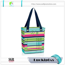 Unique ladies cuboids shape tote bag stripe canvas beach tote bag with large compartment