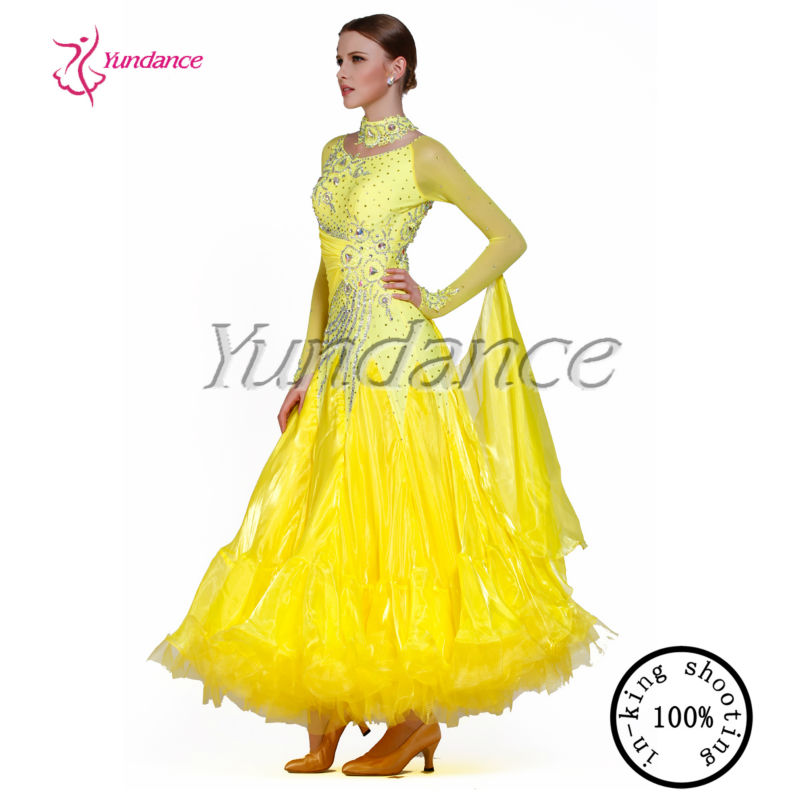 a8e12685faa95 B-1397 High Quality Custom Made Ballroom Dance Dress Yellow - Buy ...