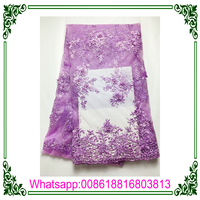 Lilac African Beads Embroidery Chemical Bridal 3D Tulle Lace With Flower