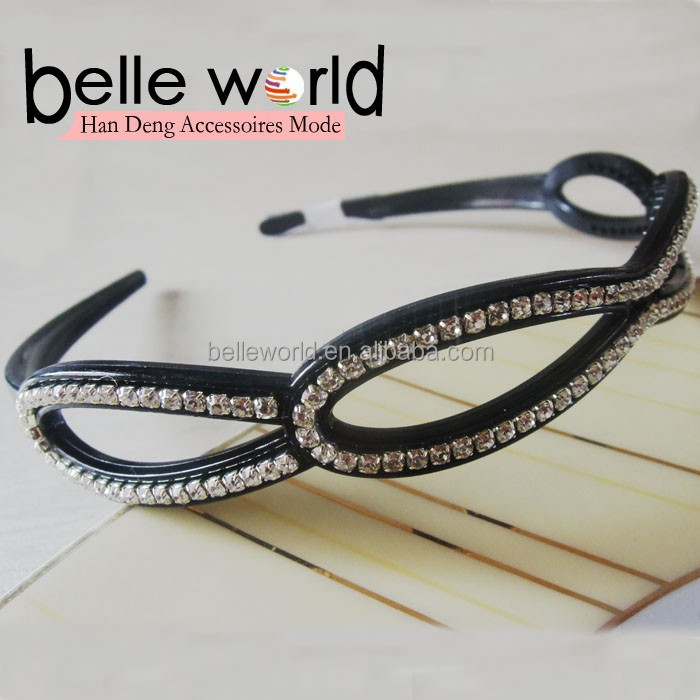black plastic with Rhinestone simple hair bands alice band for women