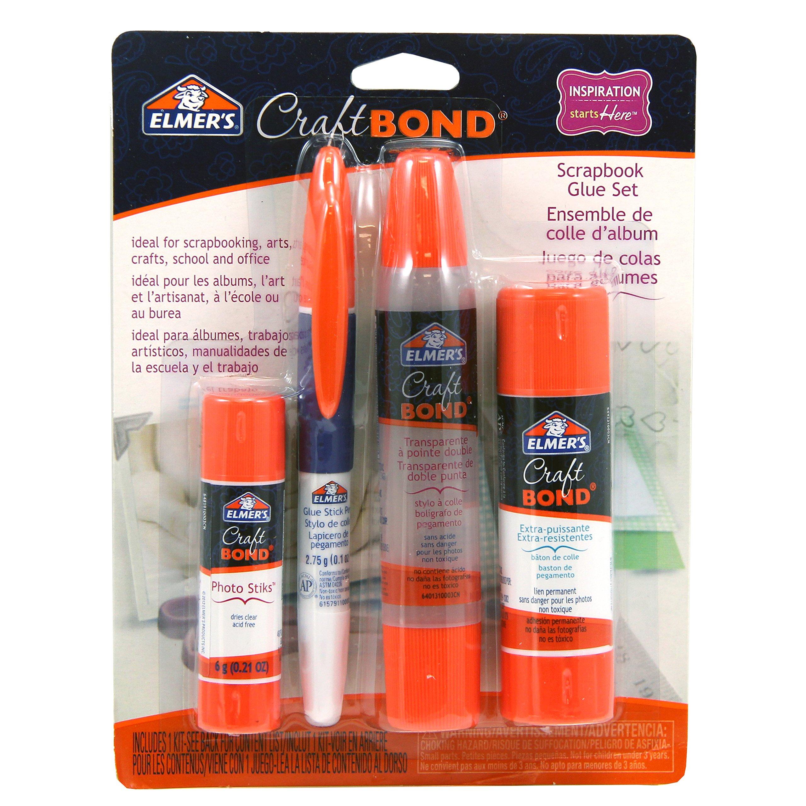 Elmer's Craftbond Scrapbook Glue Set, Clear Dual Tip Pen & Extra Strength Glue Stick (E61579)