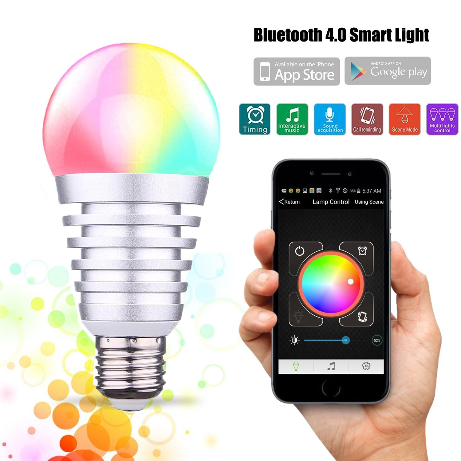 werleo bluetooth smart led light bulbs 9w app group controlled dimmable multi color changing led lights