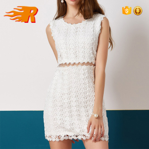 Summer Wholesale Plain Sexy White Lace Short Pencil Dress