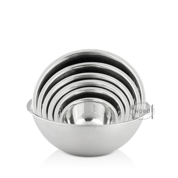 Factory Rolled Rim Polished Mirror Nesting Metal Round Bowl Set Stackable Stainless Steel Mixing Bowl