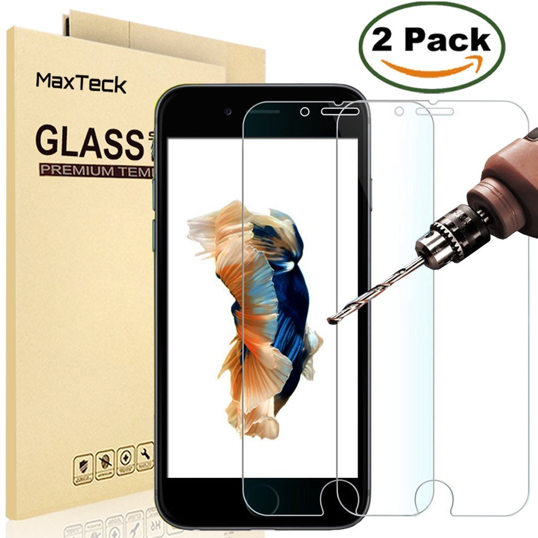 """[2 Pack] iPhone 6 Plus / 6S Plus Screen Protector, MaxTeck 0.26mm 9H Tempered Glass Screen Protector Anti-Shatter Film for iPhone 6 6S Plus 5.5"""" inch [3D Touch Compatible] - Lifetime Warranty"""