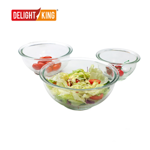 High Borosilicate Glass Mixing Bowl with PP Lid/Glass Salad Bowl Set