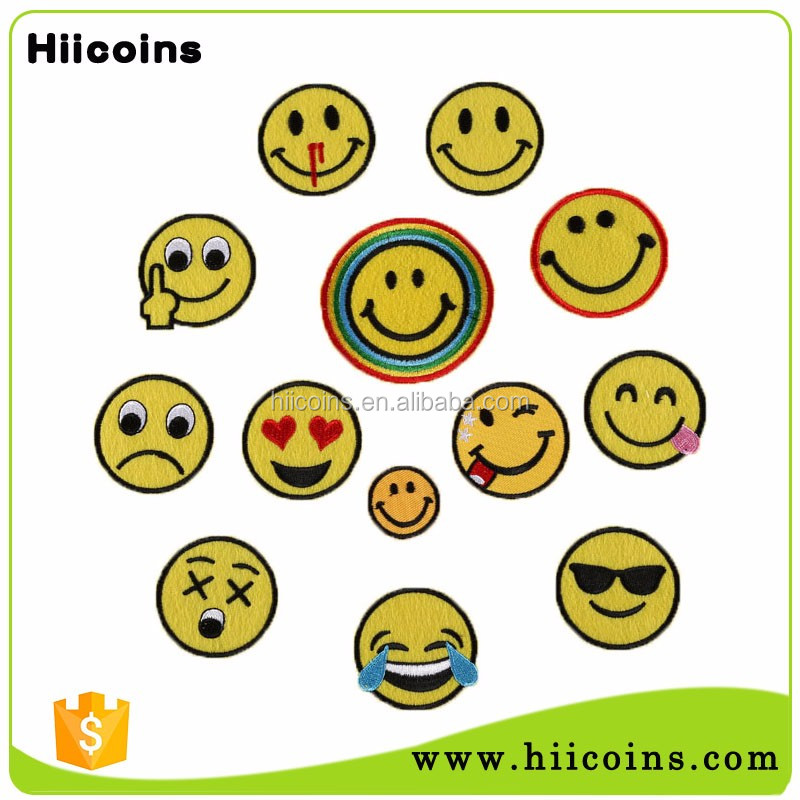 High Quality China Factory Cheap Custom Emoji Embroidered Patches