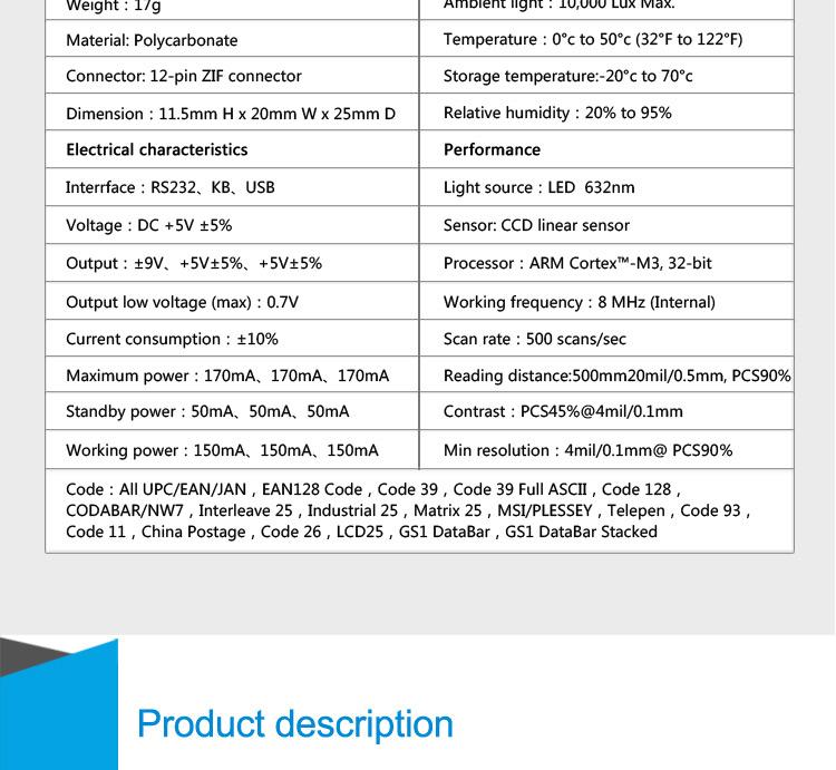Trade Assurance Ccd Barcode Scanner Module 1d Barcode Reader 1d Code Bar  Scanner - Buy Bar Code Scanner Module,1d Scanner,Ccd Scanner Module Product