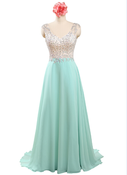 Sexy V Neck Backless Top Beaded Long Chiffon Mint Green Crop Top Prom Dresses Vestidos Longos,PD033