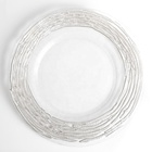 Wholesale elegant transparent silver reef crystal plate charger