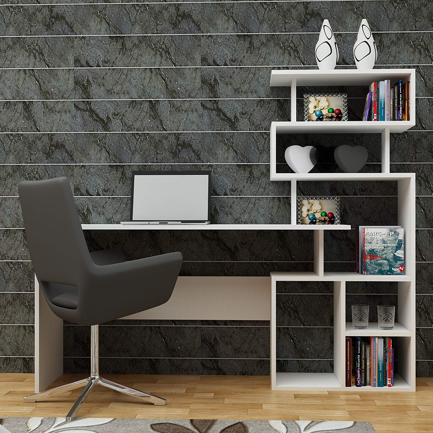 Computer Desk with Bookshelf - Smooth White, One Colored, Multi Functional - Industrial Style Desk for Study & Use as Laptop Table - Perfect for Home, Office, Living Room, Study Room