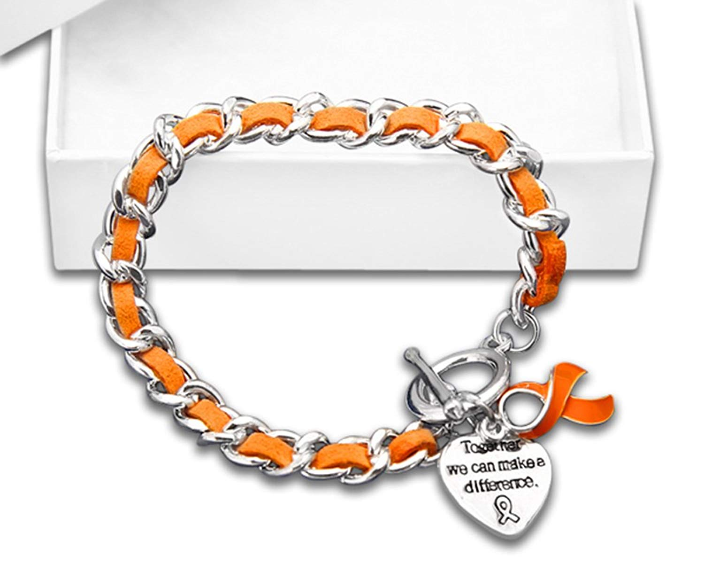 Leather Rope Orange Ribbon Bracelet in a Gift Box (1 Bracelet - RETAIL)