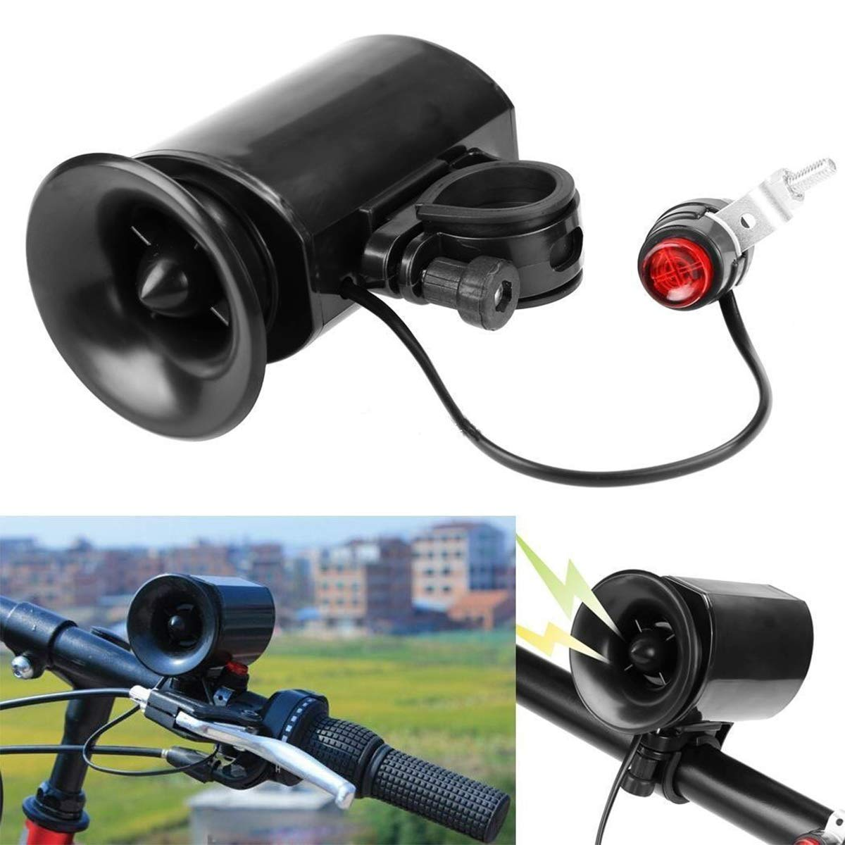 COOLOH Yannuo Trading Waterproof Bike Bicycle Cycling Ultra-Loud Electronic Bell Horn Alarm, Bike Siren Bell 6 Sounds Super Loud Electronic Bicycle Bell Bike Horn Siren Ring Alarm Speaker