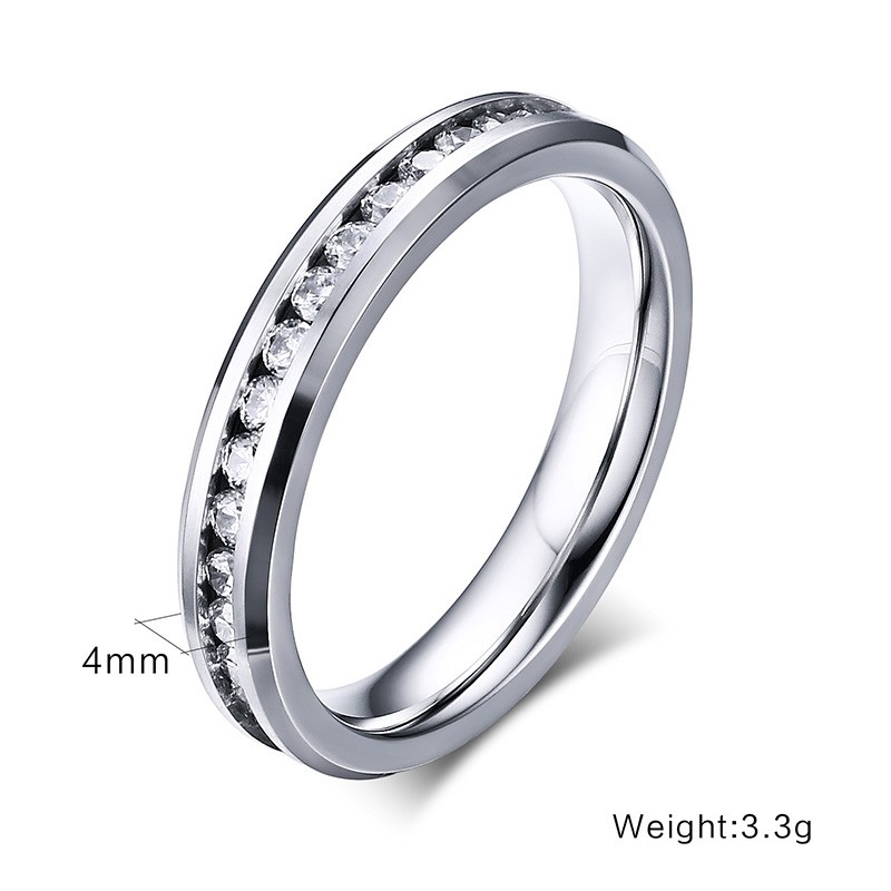 2017 Newest customized stainless steel small shiny rhinestone thin jewelry american diamond rings