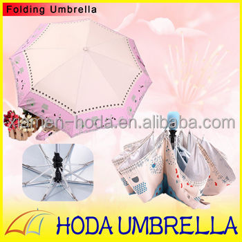 Cuty Ducks Toy Silver-coated Pongee Full Automatic 3 folding Rain and Sun Umbrella for Family Use in Sunny day