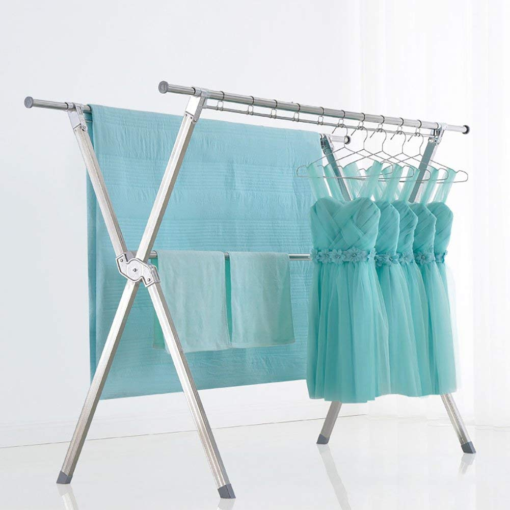 SKKGN Clothes laundry Drying rack, Telescopic Foldable Double rods Dryer Indoor and outdoor Drying clothes and quilts-silver