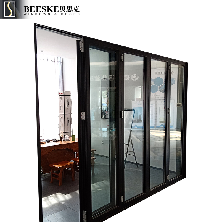 Modern High Quality Durable Spraying Aluminium Clear Glass Slide And Fold Doors For Indoor