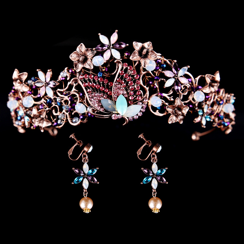 Retro bridal large pageant crowns princess butterfly tiara handmade beads drop earrings
